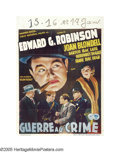 "Movie Posters:Crime, Bullets or Ballots (Warner Brothers, 1936). Pre-War Belgian (24"" X33""). Edward G. Robinson is featured on this Belgian post..."