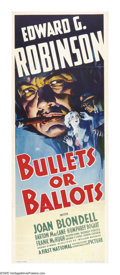 "Movie Posters:Crime, Bullets or Ballots (Warner Brothers, 1936). Insert (14"" X 36""). TheHays Commission came down pretty hard on Hollywood's glo..."