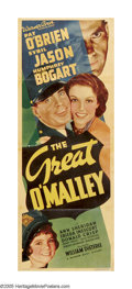 "Movie Posters:Crime, The Great O'Malley (Warner Brothers, 1937). Insert (14"" X 36"").Humphrey Bogart stars as a man down on his luck due to the D..."