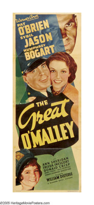"The Great O'Malley (Warner Brothers, 1937). Insert (14"" X 36""). Humphrey Bogart stars as a man down on his luc..."