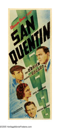 "Movie Posters:Drama, San Quentin (Warner Brothers, 1937). Insert (14"" X 36""). HumphreyBogart must have felt he was being sent ""up the river"" as ..."