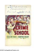 "Movie Posters:Crime, Crime School (Warner Brothers, 1938). Window Card (14"" X 22"").Humphrey Bogart stars as the warden of a reform school for ju..."