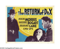 """The Return of Dr. X (Warner Brothers, 1939). Half Sheet (22"""" X 28"""") Other Company. Bogart lurks menacingly as..."""