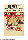 "Movie Posters:Western, Virginia City (Warner Brothers, 1940). Window Card (14"" X 22""). Although most posters on this title feature a small photogra..."
