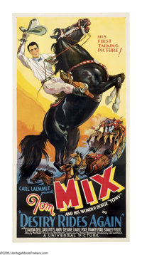"""Destry Rides Again (Universal, 1932). Three Sheet (41"""" X 81""""). The greatest Western star of all time, Tom Mix..."""
