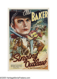 "The Singing Outlaw (Universal, 1938). One Sheet (27"" X 41""). After a singing outlaw and a U.S. marshal kill ea..."