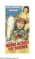 "Movie Posters:Western, Hands Across the Border (Republic, 1944). Three Sheet (41"" X 81""). Kim Adams (Ruth Terry) takes over her father's horse bree..."