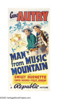 "Movie Posters:Western, The Man From Music Mountain (Republic, 1938). Three Sheet (41"" X 81""). Unscrupulous land investors are trying to cheat the t..."
