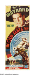 "Movie Posters:Western, In Old Santa Fe (Mascot, 1934). Insert (14"" X 36"") Autographed. Although Ken Maynard received top billing in this Mascot ""B""..."
