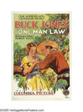 """Movie Posters:Western, One Man Law (Columbia, 1932). One Sheet (27"""" X 41""""). Buck Jones, """"The Screen's Ace Outdoor Star,"""" was a well-known cowboy st..."""