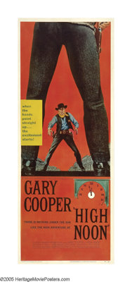 """High Noon (United Artists, 1952). Insert (14"""" X 36""""). Gary Cooper stars as a sherif under siege in one of the..."""