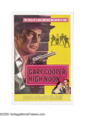 "Movie Posters:Western, High Noon (United Artists, 1952). One Sheet (27"" X 41""). Told in real time, this film follows retiring sheriff Will Kane (Ga..."