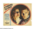 "Movie Posters:Drama, A Farewell To Arms (Paramount, 1932). Lobby Card (11"" X 14""). This beautiful portrait card shares a similar central image wi..."