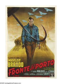 """On the Waterfront (Columbia, 1954). Italian (55"""" X 77""""). Elia Kazan directed one of the greatest films in movi..."""
