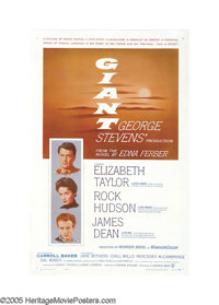 "Giant (Warner Brothers, 1956). One Sheet (27"" X 41""). The monumental struggle of wills between Texas cattle ba..."