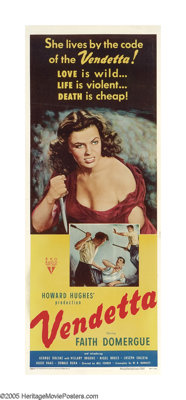 """Vendetta (RKO, 1950). Insert (14"""" X 36""""). This Howard Hughes project has had more great directors attached tha..."""