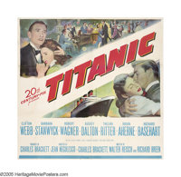 "Titanic (20th Century Fox, 1953). Six Sheet (81"" X 81""). ""All passengers go to their cabins and put on li..."