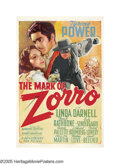 "Movie Posters:Swashbuckler, The Mark of Zorro (20th Century Fox, 1940). One Sheet (27"" X 41"").Tyrone Power reprises the role first brought to the scree..."