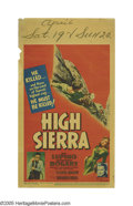 "Movie Posters:Crime, High Sierra (Warner Brothers, 1941). Midget Window Card (8"" X14"").Humphrey Bogart and Ida Lupino star in this tragic study ..."