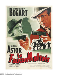 "The Maltese Falcon (Warner Brothers, 1946 Post-War Release). French (47"" X 63""). Humphrey Bogart was given the..."