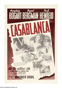 "Casablanca (Warner Brothers, 1942). One Sheet (27"" X 41""). Based on the stage play, ""Everybody Comes to R..."