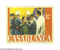 """Casablanca (Warner Brothers, 1942). Lobby Card (11"""" X 14""""). Peter Lorre plays the criminal Ugarte, who appeals..."""