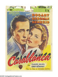 "Movie Posters:Film Noir, Casablanca (Warner Brothers, 1947 Post-War Release). Belgian (11"" X15""). This incredible post-war Belgian poster features o..."