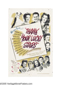 "Movie Posters:Musical, Thank Your Lucky Stars (Warner Brothers, 1943). One Sheet (27"" X41""). Every studio jumped on the bandwagon during WWII in a..."