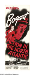 """Movie Posters:War, Action in the North Atlantic (Warner Brothers, 1943). Insert (14"""" X36""""). In another war-time effort, Humphrey Bogart and Ra..."""