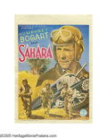 """Movie Posters:War, Sahara (Columbia, 1943). Post-War Belgian (11"""" X 15.5""""). This small Belgian poster depicts one of the highlights of the film..."""