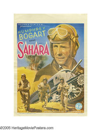 """Sahara (Columbia, 1943). Post-War Belgian (11"""" X 15.5""""). This small Belgian poster depicts one of the highligh..."""