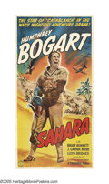 "Movie Posters:War, Sahara (Columbia, 1943). Three Sheet (41"" X 81""). Humphrey Bogartstars as a sergeant in command of a tank crew in the Libya..."