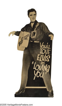 Loving You (Paramount, 1957). Standee. Elvis Presley plays Deke Rivers, a delivery man and amateur musician invited by p...