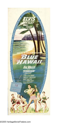 "Blue Hawaii (Paramount, 1961). Insert (14"" X 36""). Who says rock 'n' roll overturned the beloved music of the..."
