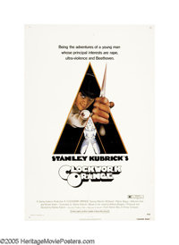 "A Clockwork Orange (Warner Brothers, 1971). One Sheet (27"" X 41""). In a future society, Alex and his Droogs sp..."