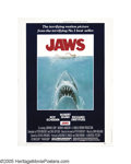 "Movie Posters:Horror, Jaws (Universal, 1975). Poster (30"" X 40""). Steven Spielberg had previous success directing thrillers like ""Duel"" and ""The S..."