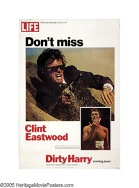 "Dirty Harry (Warner Brothers, 1971). Poster (40"" X 60""). Clint Eastwood's ""Dirty Harry"" received his..."
