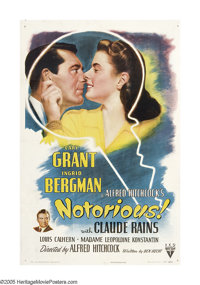 "Notorious (RKO, 1946). One Sheet (27"" X 41""). Alfred Hitchcock is always thought of as the Master of Suspense..."