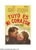 """Movie Posters:Hitchcock, Notorious (RKO, 1946). Argentinian One Sheet (29"""" X 43""""). CaryGrant stars as a federal agent who pushes Ingrid Bergman, the..."""