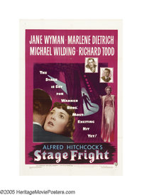 """Stage Fright (Warner Brothers, 1950). One Sheet (27"""" X 41""""). When Jonathan Cooper (Richard Todd) is accused of..."""