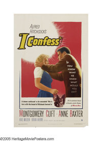 """I Confess (Warner Brothers, 1953). One Sheet (27"""" X 41""""). Alfred Hitchcock's tale about a priest, played by Mo..."""
