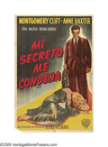 "Movie Posters:Hitchcock, I Confess (Warner Brothers, 1953). Argentinian One Sheet (29"" X43""). Montgomery Clift stars as a priest who must choose bet..."