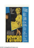 "Movie Posters:Hitchcock, Psycho (Paramount, 1960). One Sheet (27"" X 41"") Autographed. AlfredHitchcock's acclaimed horror film is as riveting today a..."