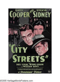"Movie Posters:Film Noir, City Streets (Paramount, 1931). One Sheet (27"" X 40""). Gary Cooperstars as a sideshow sharpshooter who falls for the daught..."