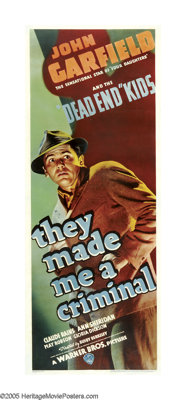 "They Made Me a Criminal (Warner Brothers, 1939). Insert (14"" X 36""). Perennial tough guy John Garfield made on..."