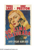 "Movie Posters:Film Noir, This Gun For Hire (Paramount, 1942). Argentinian One Sheet (27"" X41""). Veronica Lake and Alan Ladd, who became icons of the..."