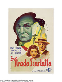 "Scarlet Street (Universal, 1945). Italian One Sheet (27.5"" X 39.5""). German director Fritz Lang helped develop..."