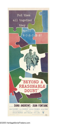 """Beyond a Reasonable Doubt (RKO, 1956). Insert (14"""" X 36""""). This was legendary director Fritz Lang's last film..."""
