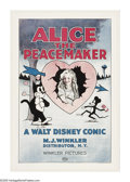 "Movie Posters:Animated, Alice the Peacemaker (Winkler, 1924). One Sheet (27"" X 41""). WaltDisney's earliest forays into the film industry involved m..."