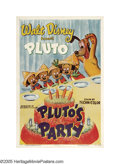 "Movie Posters:Animated, Pluto's Party (RKO, 1952). One Sheet (27"" X 41""). When Pluto has abirthday party, Mickey's nephews have all the fun, pinnin..."